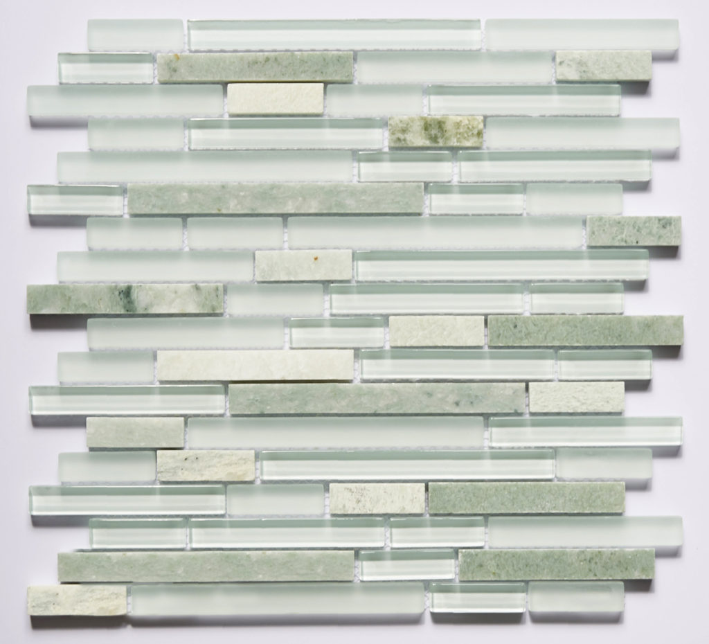 Glass and Stone Blend Linear Mosaics-Iceland- by Lint Tile