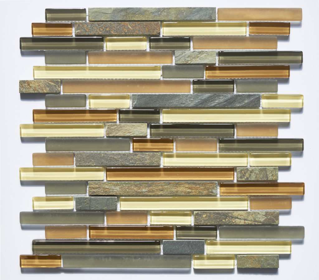 Glass and Stone Blend Linear Mosaics-Cabernet- by Lint Tile