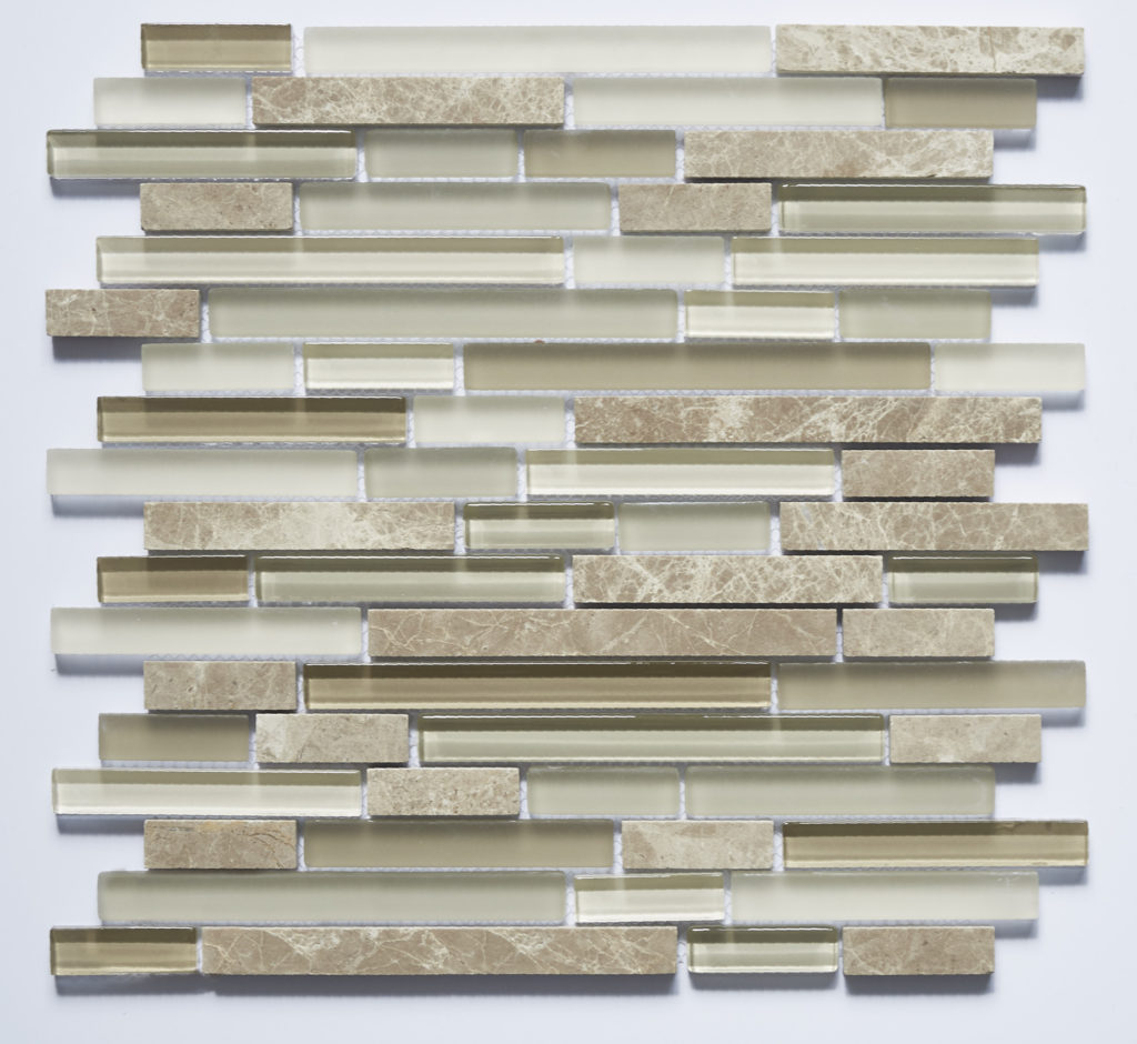 Glass and Stone Blend Linear Mosaics-Walnut- by Lint Tile
