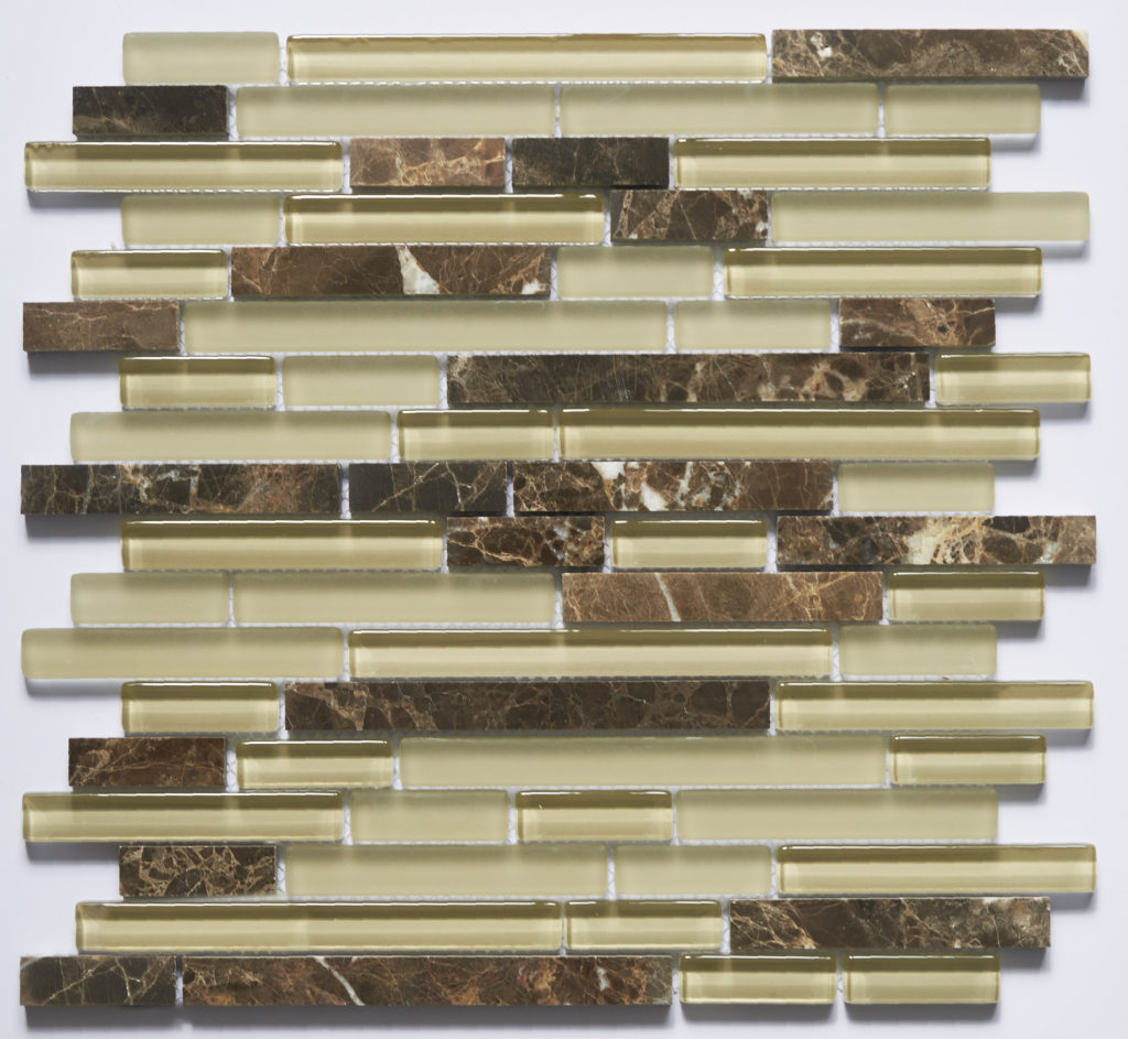 Glass and Stone Blend Linear Mosaics-Coffee- by Lint Tile