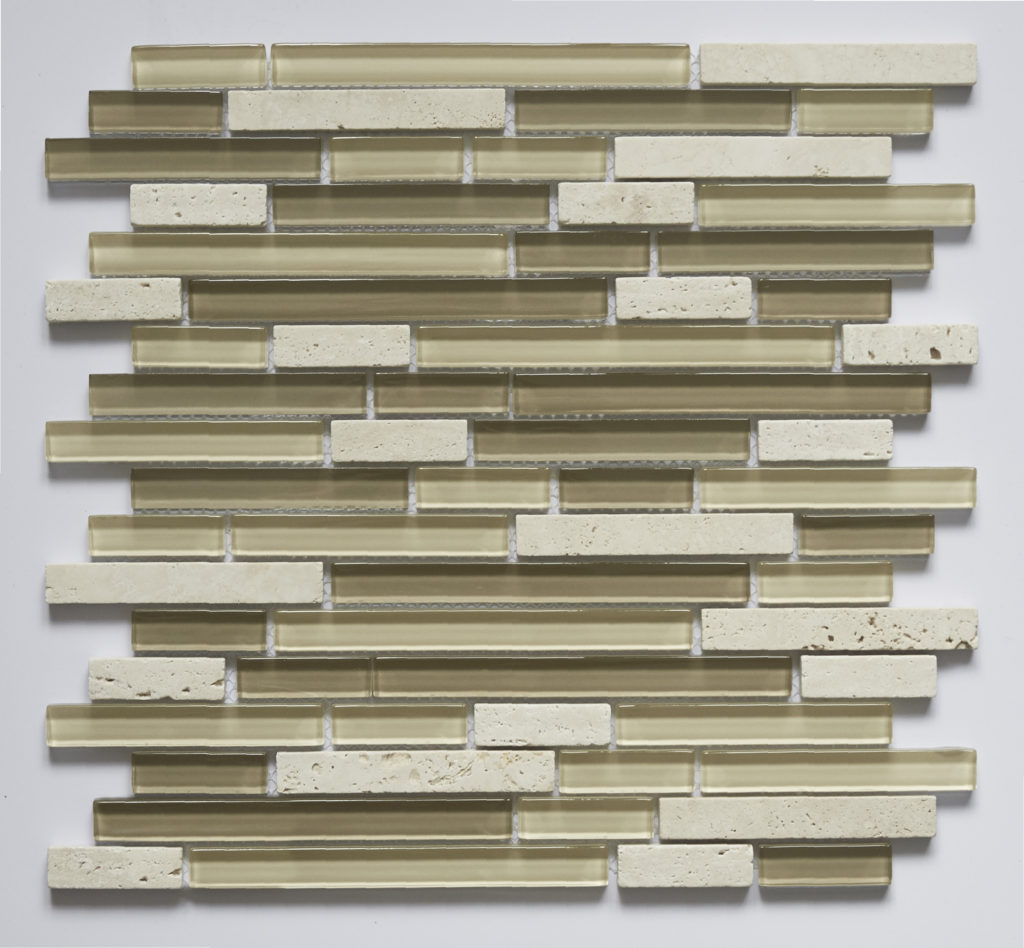 Glass and Stone Blend Linear Mosaics-Ivory- by Lint Tile