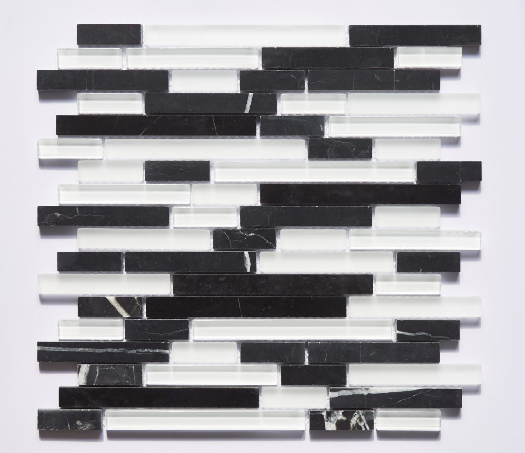 Glass and Stone Blend Linear Mosaics-Black and White- by Lint Tile