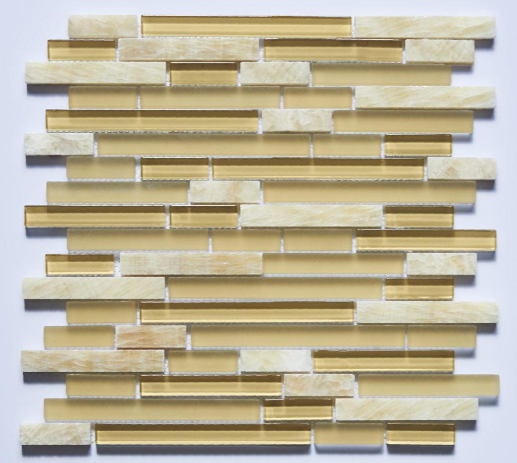 Glass and Stone Blend Linear Mosaics-Honey- by Lint Tile