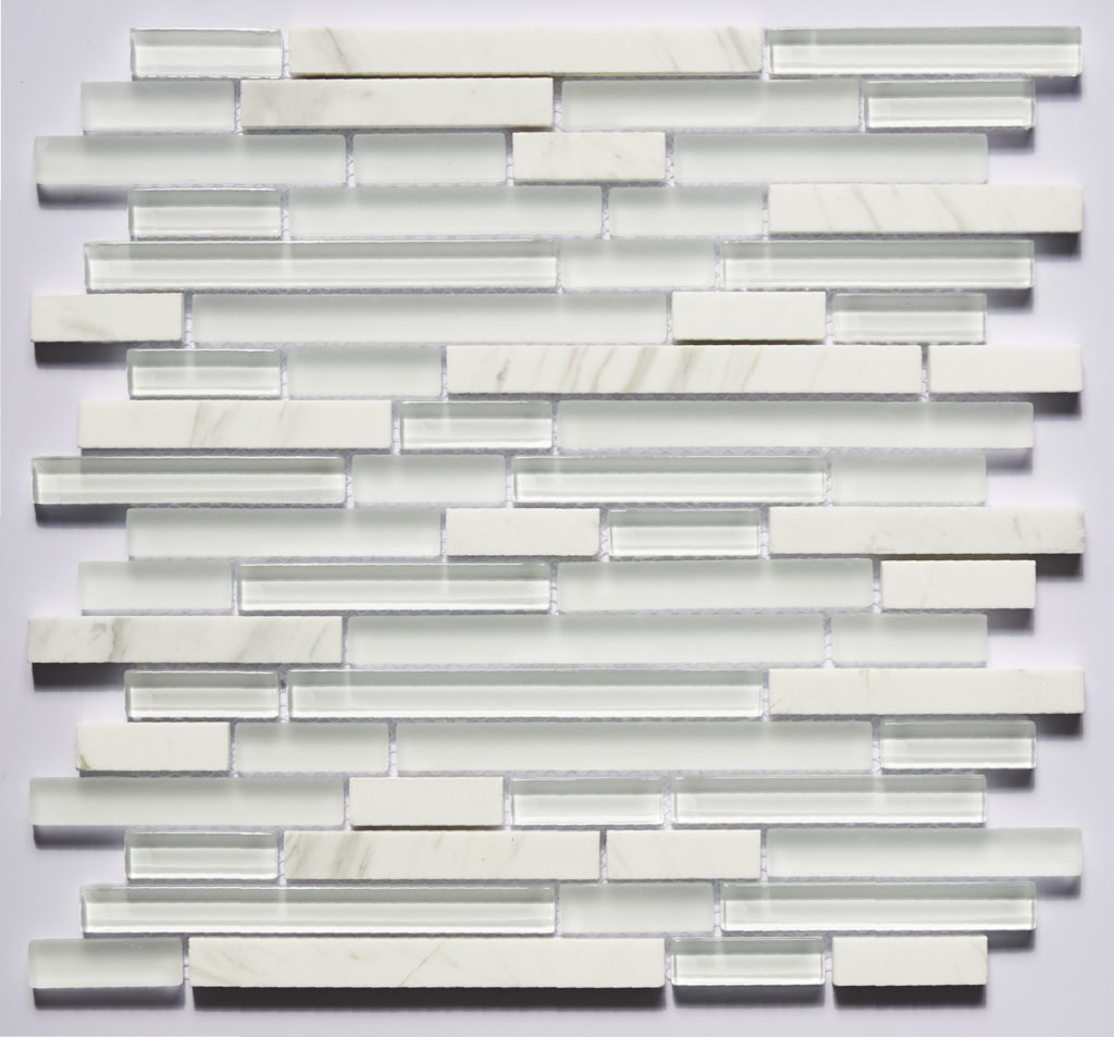 Glass and Stone Blend Linear Mosaics-Pearl- by Lint Tile