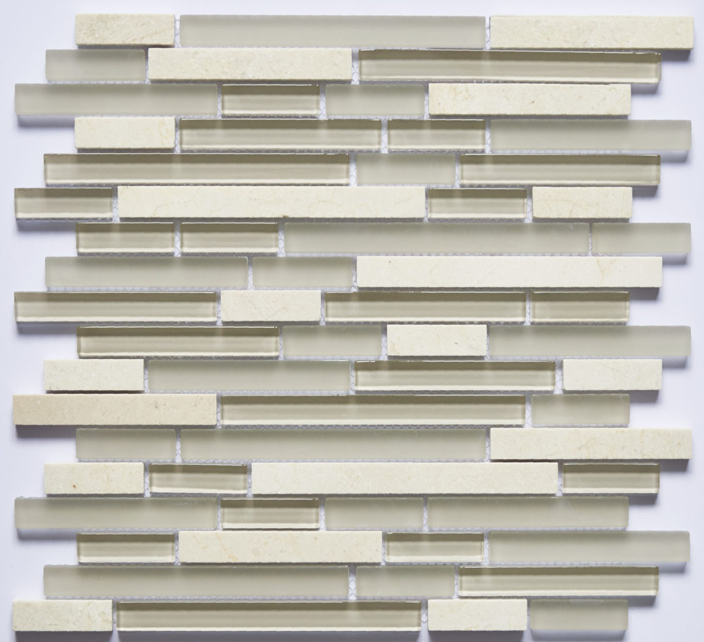 Glass and Stone Blend Linear Mosaics-Cream- by Lint Tile