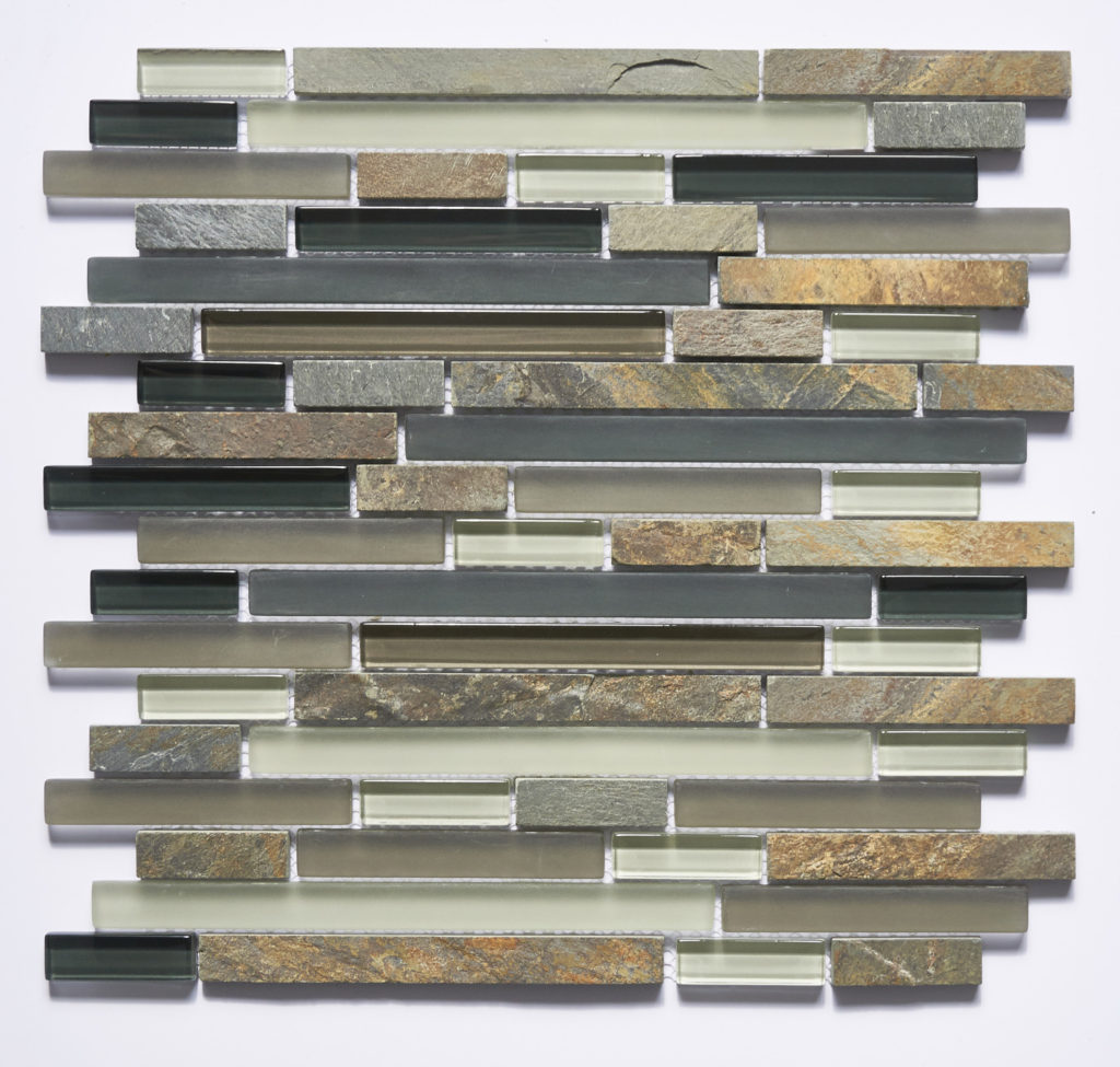 Glass and Stone Blend Linear Mosaics-Marine- by Lint Tile