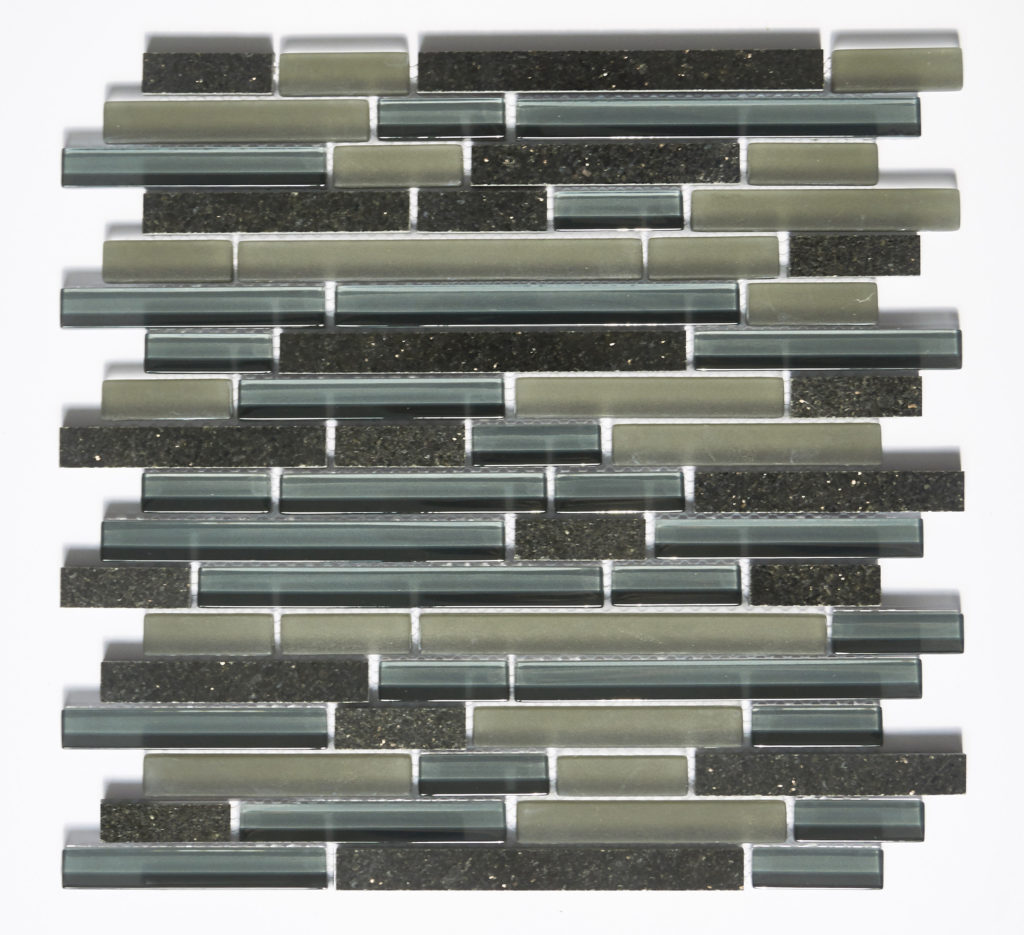 Glass and Stone Blend Linear Mosaics-Midnight- by Lint Tile