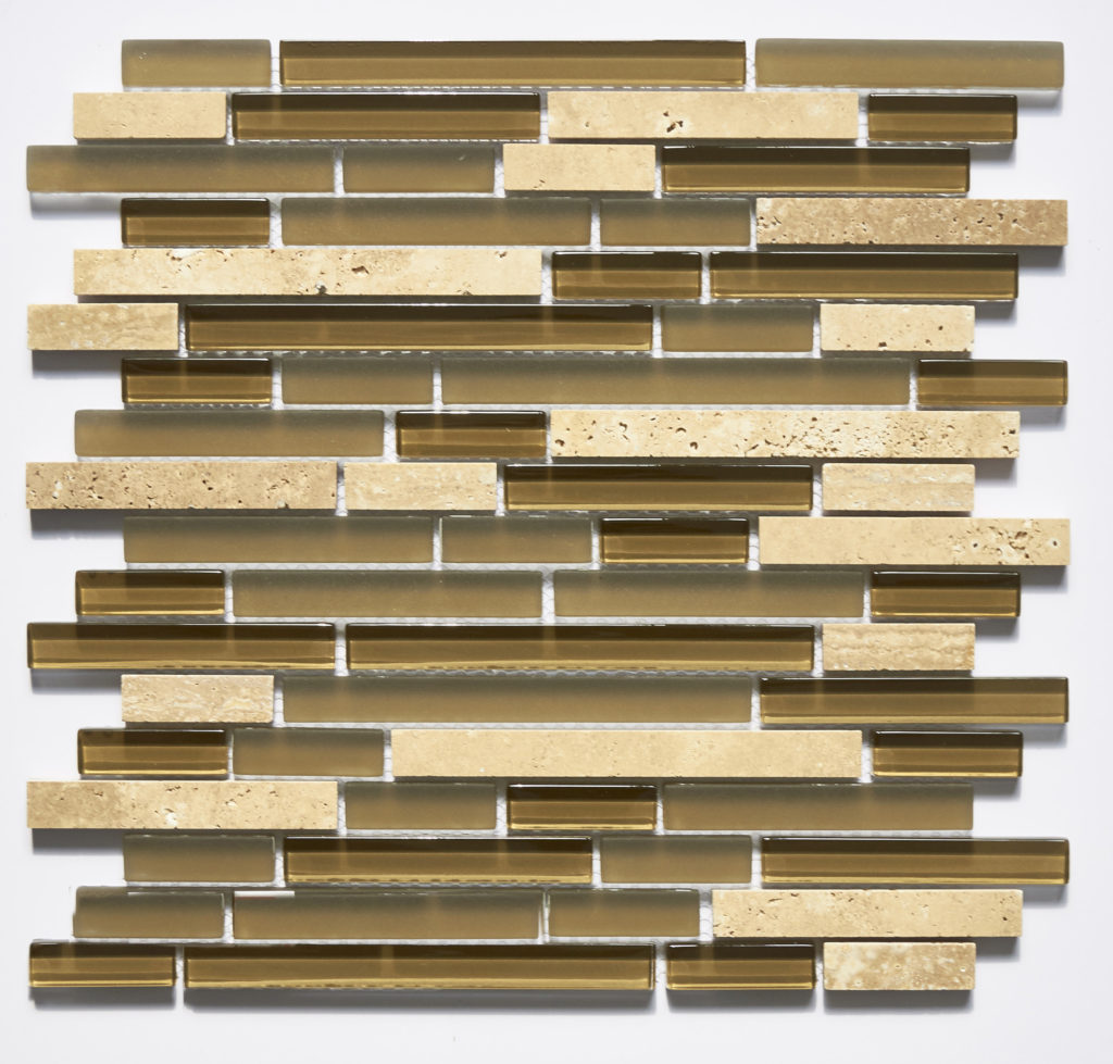 Glass and Stone Blend Linear Mosaics-Caramel- by Lint Tile
