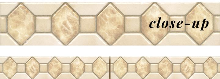 Marbles porcelain-CENEFA-Diamond-Listello-Daino-and-CremaMarfil