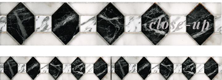Marbles porcelain-CENEFA-Diamond-Statuario-Listello
