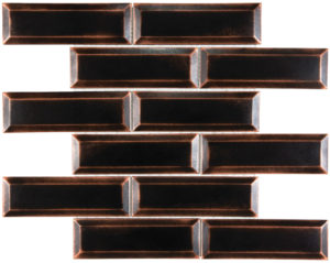 2x6 Satin Oil Rubber Bronze Beveled Brick Mosaics