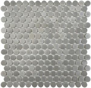 Satin Pewter Penny Round Mosaics