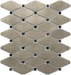 Brushed Nickel Clipped Diamond Mosaics