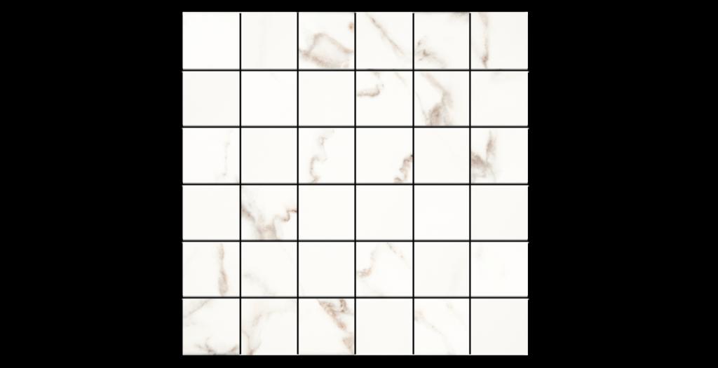Calacatta White 2x2 Porcelain Mosaic on 12x12
