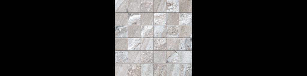 Fossilique Stone 2x2 Mosaic 12x12 Sheet Porcelain Crystal Gray