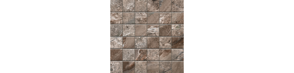 Fossilique Stone 2x2 Mosaic 12x12 Sheet Porcelain Mineral Umber