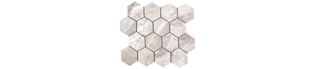 Fossilique Stone 3x3 Hexagonal Mosaic 10.25x11.75 Sheet Porcelain Bedrock Beige