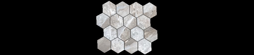 Fossilique Stone 3x3 Hexagonal Mosaic 10.25x11.75 Sheet Porcelain Crystal Gray