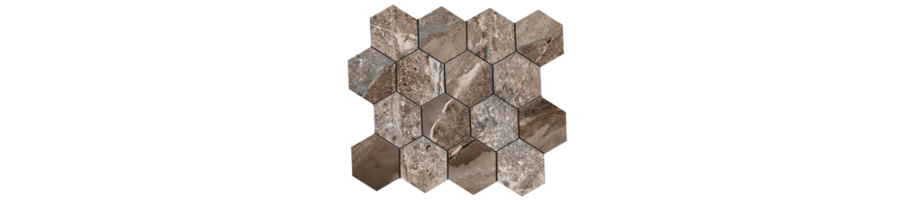 Fossilique Stone 3x3 Hexagonal Mosaic 10.25x11 75 Sheet Porcelain Mineral Umber