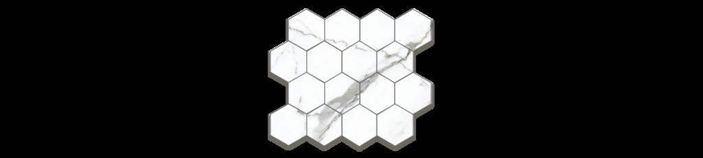 Preeminent White PRO1 3x3 Hexagonal Mosaic porcelain matte tile