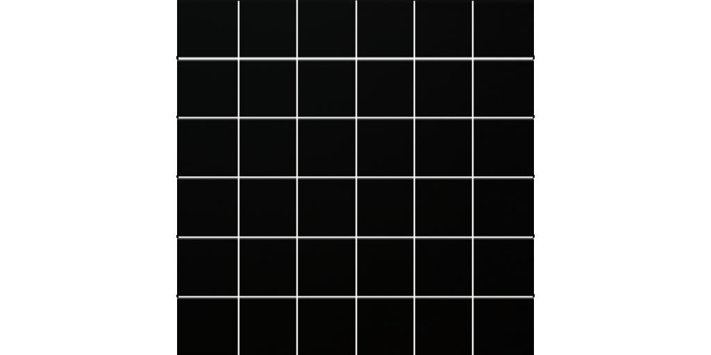 Ultra Black Matte Porcelain Mosaics 2x2 on 12x12