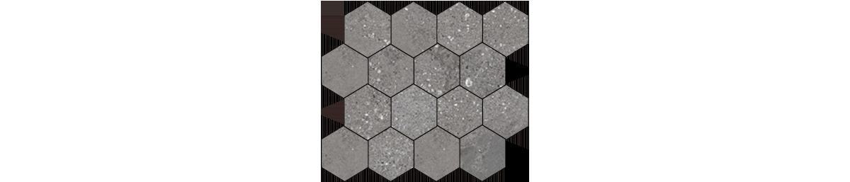Mont Bianco Porcelain Dark Gray 3x3 Hexagonal Mosaic Tile