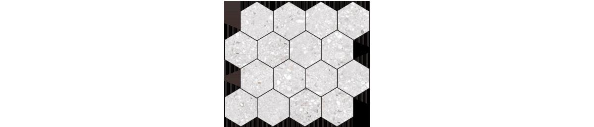 Mont Bianco Porcelain White 3x3 Hexagonal Mosaic Tile