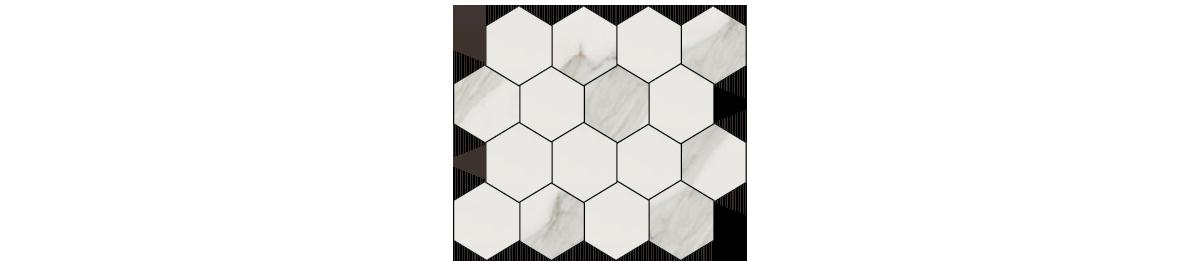 Earth Calacatta Gold Porcelain 3 x 3 Hexagonal Mosaic Tile