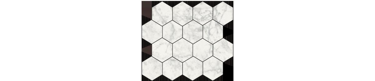 Earth Carrara Porcelain 3 x 3 Hexagonal Mosaic Tile